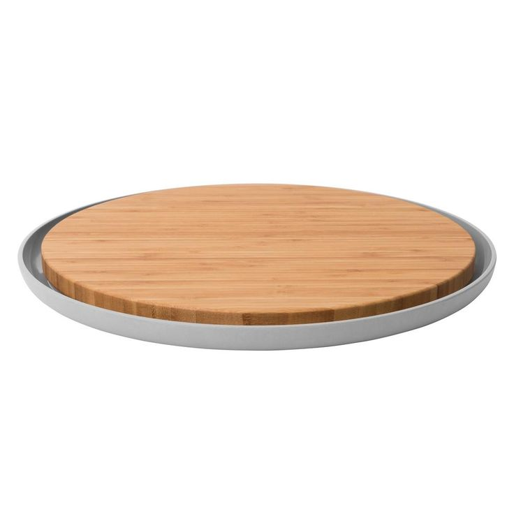 Leo Round Bamboo Cutting Board with Plate, Natural
