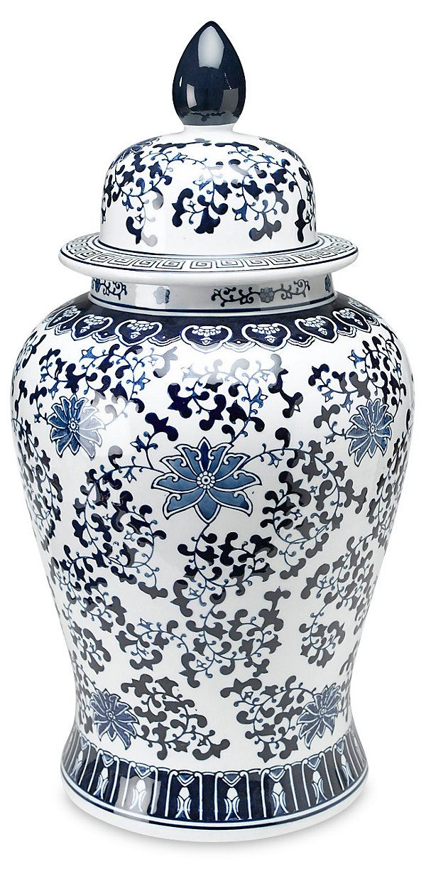 "24"" Floral Ginger Jar, Blue/White 