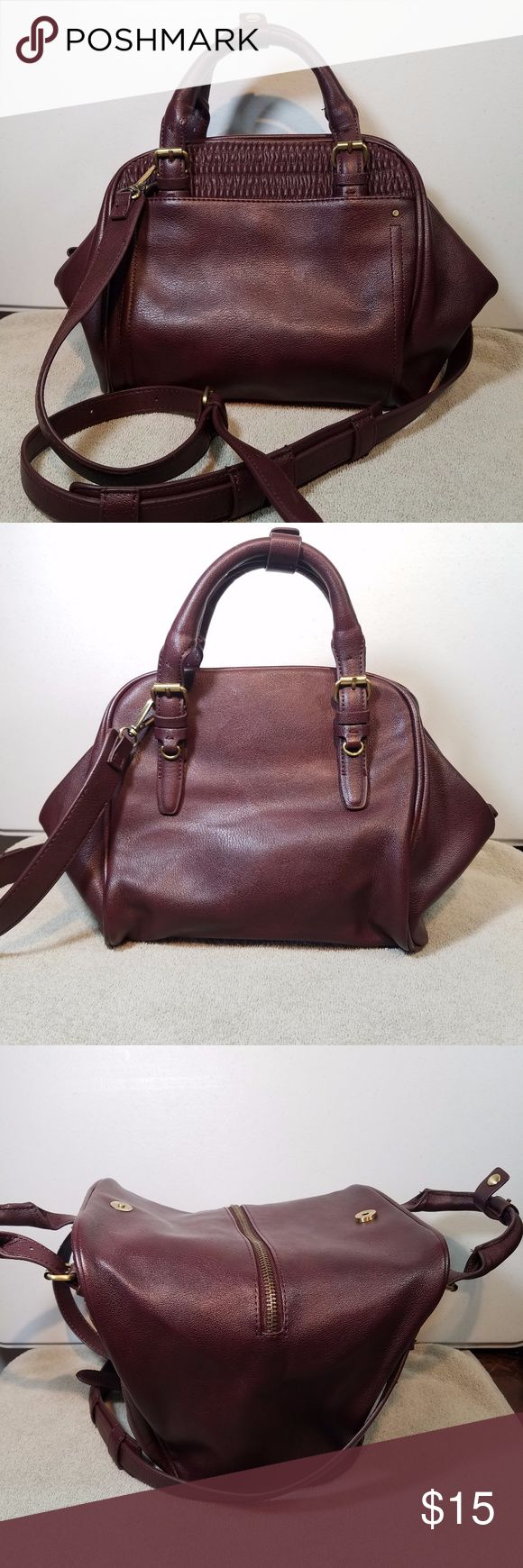 "Zara Burgundy Wine Handbag Crossbody Purse Like New. intersting design. 16 x 9.5"" 3.5"" handle drop, 23"" strap drop. Faux leather. Zara Bags Crossbody Bags"