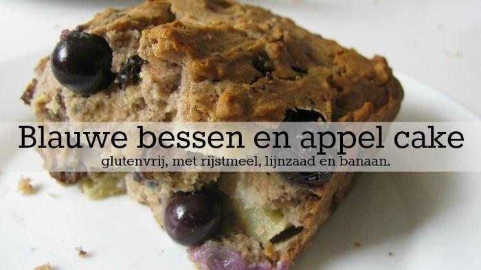 Lekkere glutenvrije cake met blauwe bessen, appel, banaan, lijnzaad en appelmoes. Lekker als ontbijt of lunch!