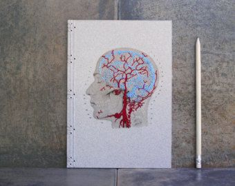 Brain Anatomy Journal. Embroidered A5 Notebook. Veins and Arteries of the Head. Medicine Art. Science Art Anatomy Journal. Anatomical Book