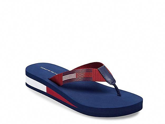 Women Natili Wedge Flip Flop Red Blue Flipflops Wedge Flip Flops Tommy Hilfiger Shoes Flip Flops