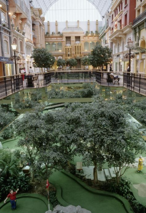 The city under the roof. West Edmonton Mall in Alberta, Canada, boasts 800 shops, employs more than 23,000 people and receives 28.2 million visitors each year. Great place to visit.
