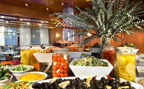 Samson and Delilah dining room for huge Israeli breakfast buffet and weekend meals