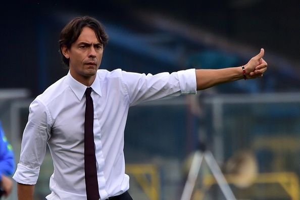 AC Milan's Coach Filippo Inzaghi gestures during the Italian Serie A football match Verona vs AC Milan at the Bentegodi Stadium in Verona on October 19, 2014