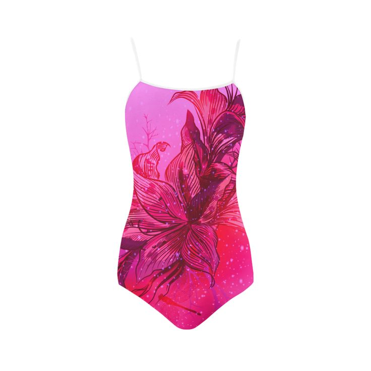 New! Wild women bikini in fresh Purple and Pink with hand-drawn art. 2016 Collection Strap Swimsuit.