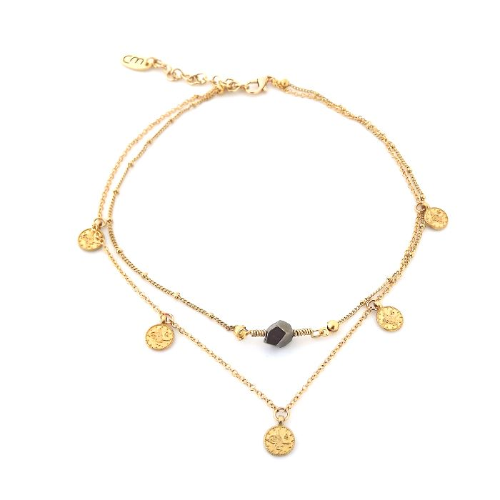 Two rows choker necklace with gold plated stainless steel chains, 24K gold plated turkish coins and a pyrite stone.