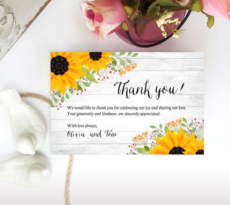 Sunflower Thank you notes | Woodsy Thank you cards for wedding, bridal shower, engagement | Cheap thank you cards for rustic wedding by lovebirdspaperie on Etsy