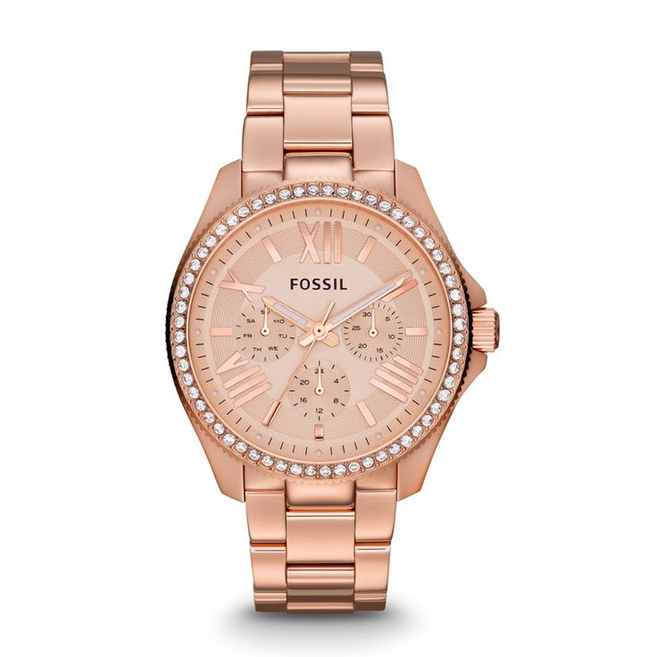 Fossil Cecile Multifunction Stainless Steel Watch - Rose $165 There's a version without the crystals for $145 that's gorgeous as well.