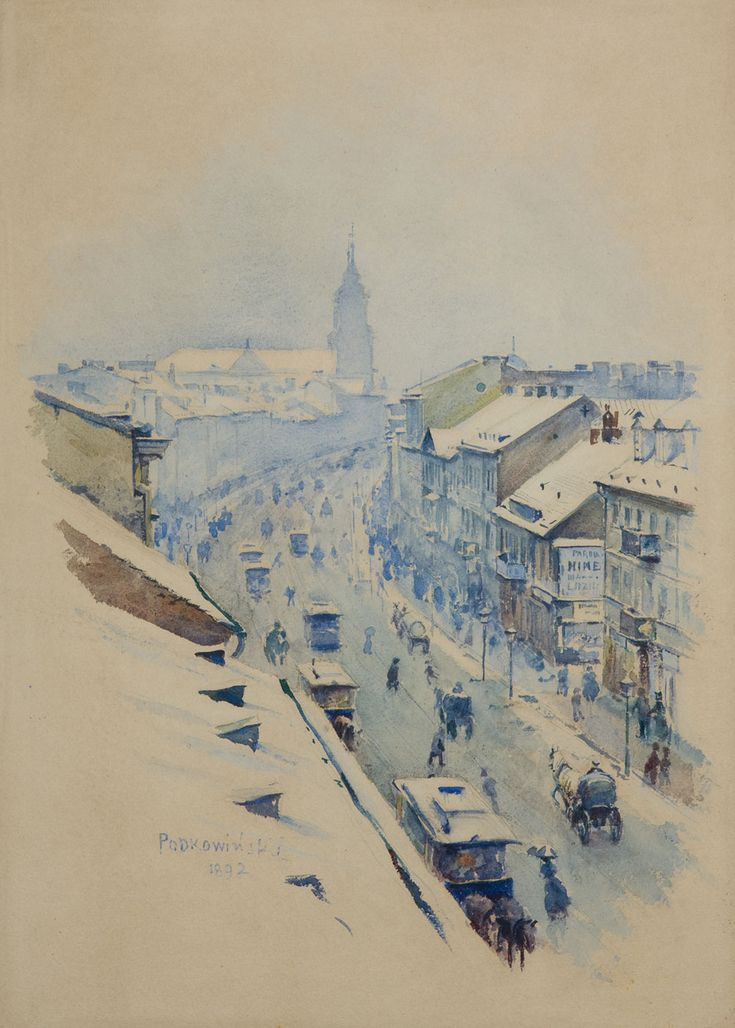 Władysław Podkowiński, Ulica Nowy Świat w Warszawie w dzień zimowy, 1892