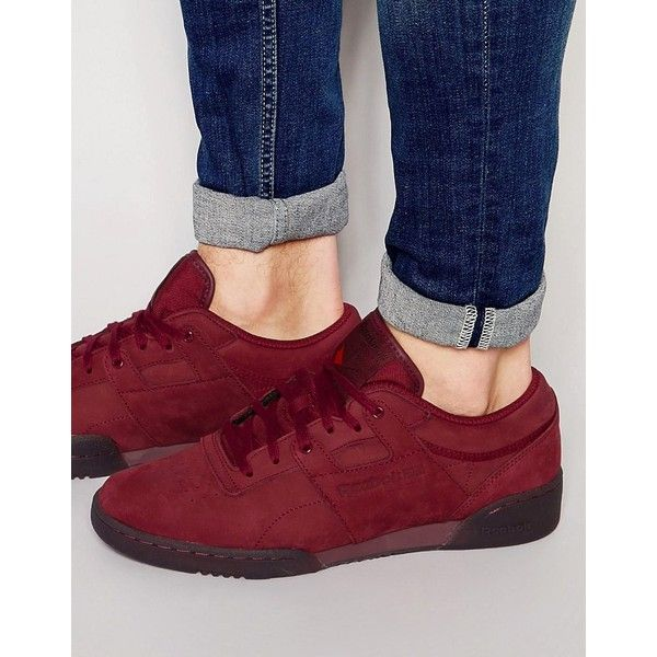 Reebok Workout Lo Clean LG Trainers ($86) ❤ liked on Polyvore featuring men's fashion, men's shoes, men's sneakers, red, reebok mens shoes, mens red sneakers and mens red shoes