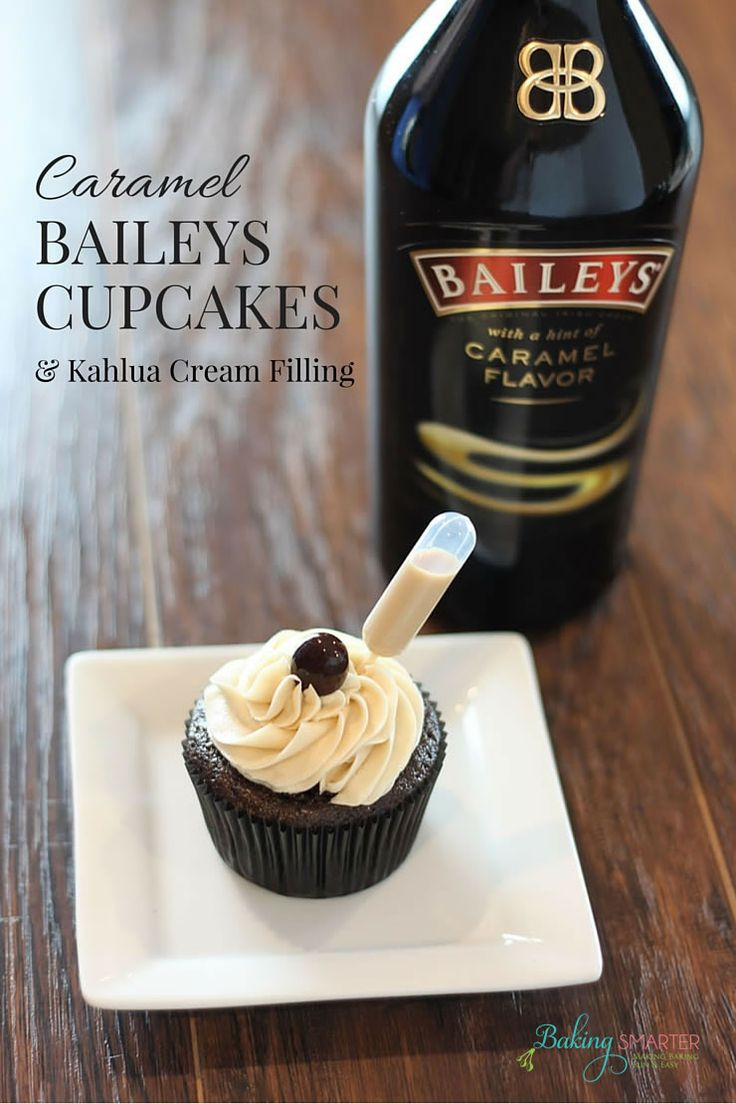 Baileys is great with everything and by itself on the rocks, which is why I combined my favorite flavor, Caramel Baileys, with my favorite chocolate cupcake recipe to make Caramel Baileys Cupcakes & Kahlua cream filling.