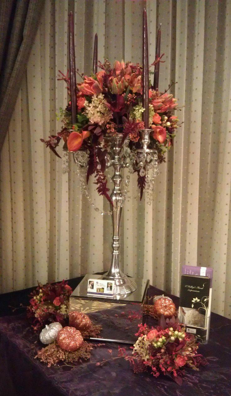 Elegant fall candelabra centerpiece | O'Malley Weddings ...