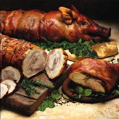 cochon de lait farçi frigousse dans les recettes des menus de la cuisine médiévale du moyen age dans les chateaux forts