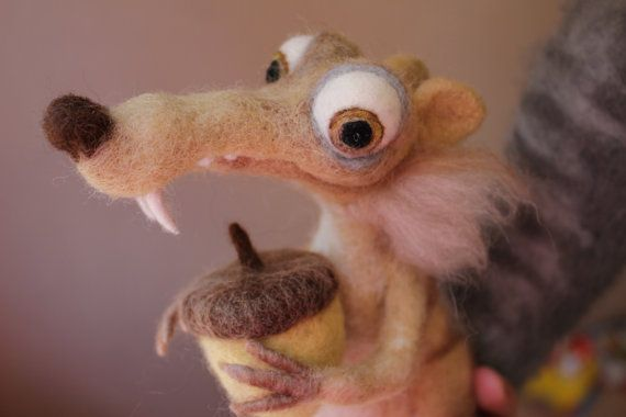 Ice Age SQUIRREL SCRAT needle felted cartoon by AliceFelts on Etsy.