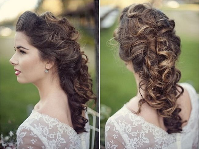 20 Long Wedding Hairstyles A gorgeous vintage half-up, half-down hairstyle that pulls the top section of hair into an elegant hair pouf allowing both sections to be pinned together into a secured curly look.