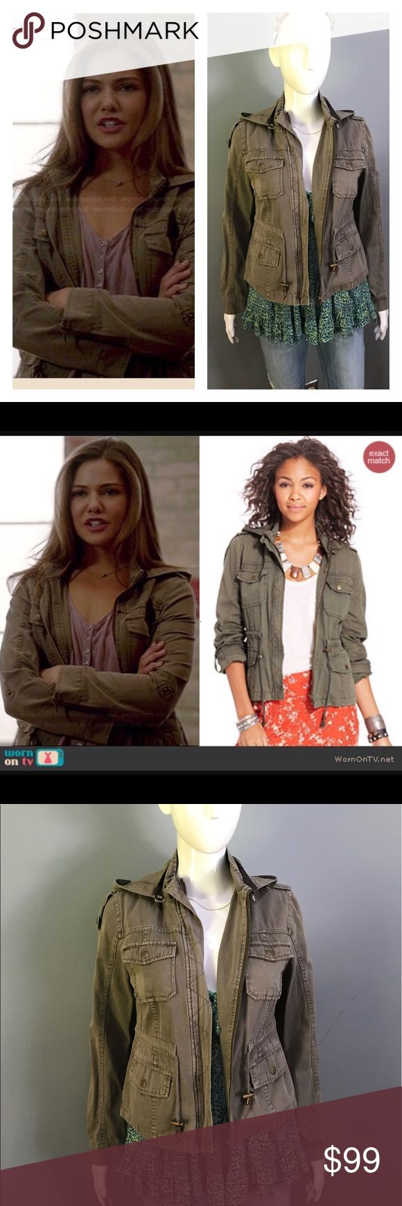 """Davina's Army Green Jacket On The Orginals Hooded Cargo Jacket by American Rag. Featured on The Originals episode """"The Brothers That Care Forgot' Season 2 Episode 8. American Rag Jackets & Coats Utility Jackets"""