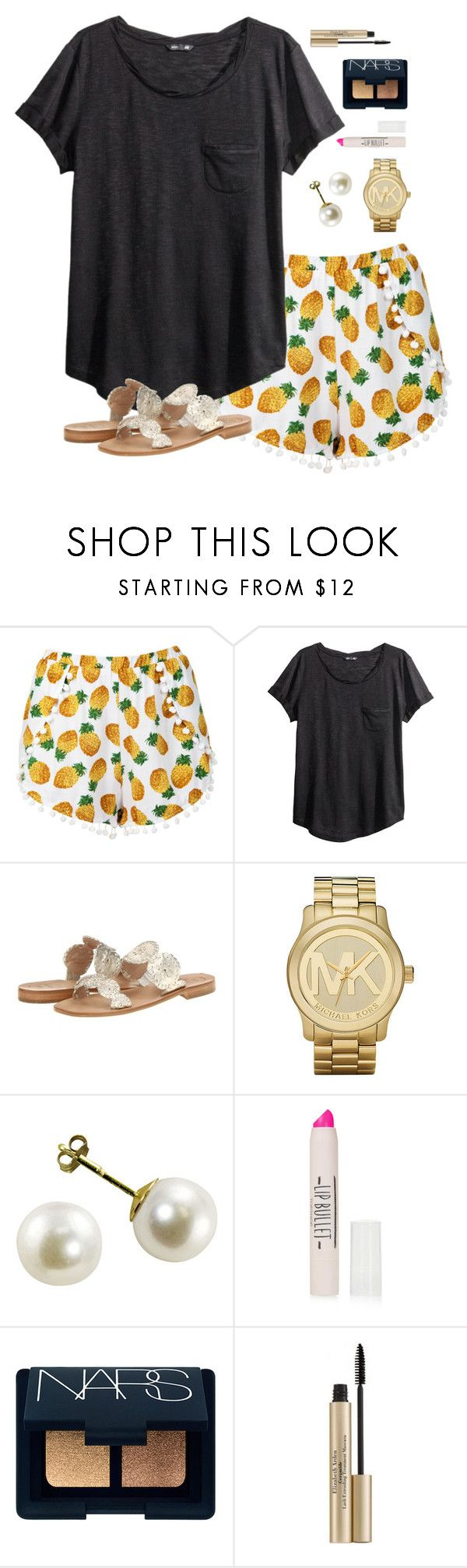 """""""pineapples"""" by classically-preppy ❤ liked on Polyvore featuring H&M, Jack Rogers, Michael Kors, Topshop, NARS Cosmetics and Elizabeth Arden"""
