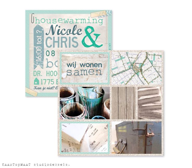 Studio Deksels - KAARTopMAAT - verhuiskaart - letters - tekst - hout - foto's - verfblikken