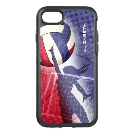 Custom OtterBox iPhone case for women's volleyball players in red, white and blue from katzdzynes on Zazzle | www.zazzle.com/katz_d_zynes