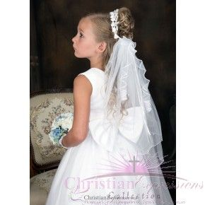 First Communion Bun Wrap Veil with Streamers