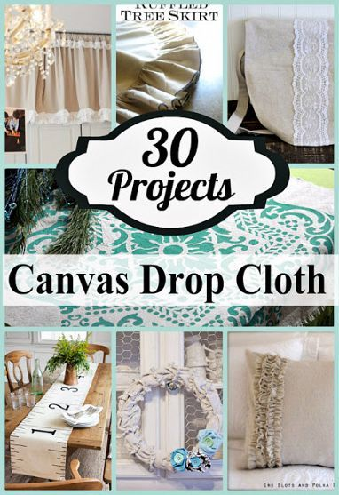 DIY #30 Low Cost Beautifully Creative Canvas Drop Cloth Projects For Your Home ! These will Amaze you - I had no Idea How Many Ways you can Use Drop Cloth in Both Interior and Exterior Design !