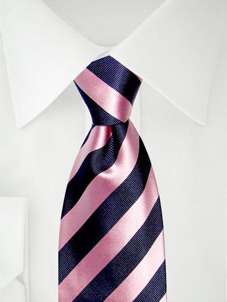 Stropdas met roze blauwe diagonale strepen