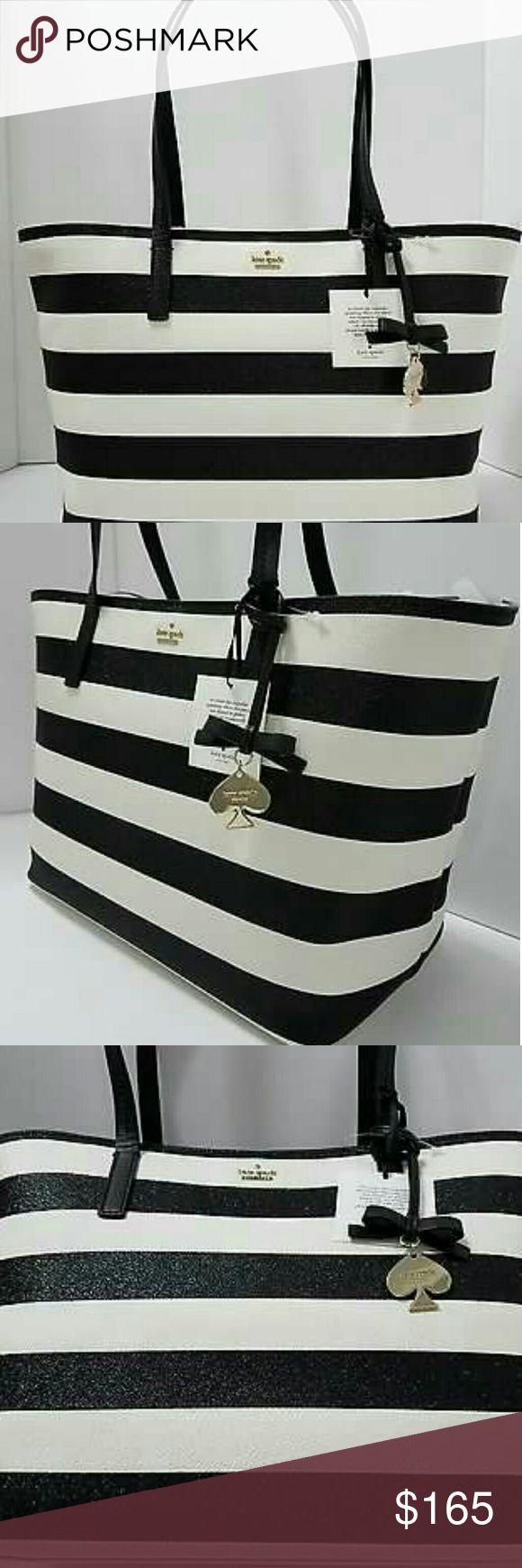 Kate Spade Glitter Hawthorne Lane Ryan Brand New with tag and 100% Authentic Guaranteed? Kate Spade Hawthorne Lane Ryan Striped Glitter Tote Bag - Black/White  Tote kate spade new york's perfectly preppy striped shopper everywhere this season, whether it's the boardroom, beach or brunch. Glittering stripes add a dash of glamour to a perfectly proportioned tote accented by a dangling spade charm.  -Glittering stripes add a dash of glamour  -Double handles with Clasp closure; lined  -Interior…