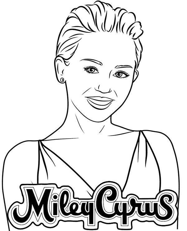 Miley Cyrus Coloring Page Coloring Pages Celebrity Drawings Singer