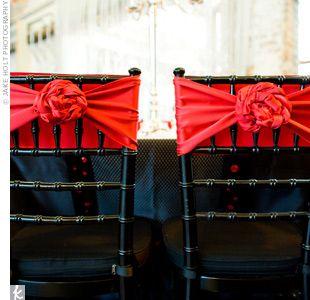 Black and red wedding decor