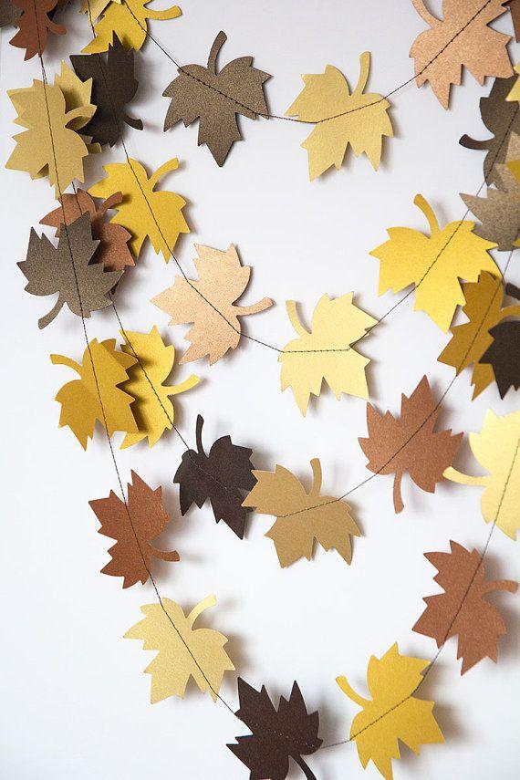 Paper garland bunting, wedding garland decor, leaf garland, party home decor, autumn wall decor fall garland, thanksgiving garland Perfect for