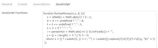 JavaScript function to format decimals in Kofax TotalAgility7