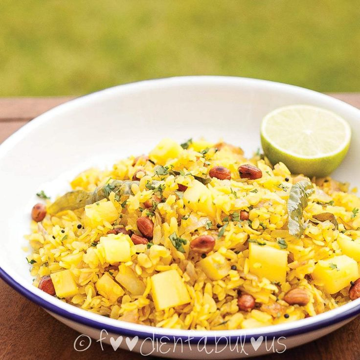 Kanda Batata Poha breakfast Recipe - popular vegetarian Maharashtrian snack - Kanda means onions in Marathi, Batata is potato and poha is Rice flakes.