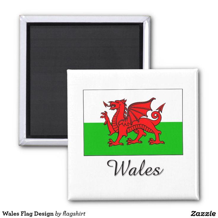 Wales Flag Design 2 Inch Square Magnet