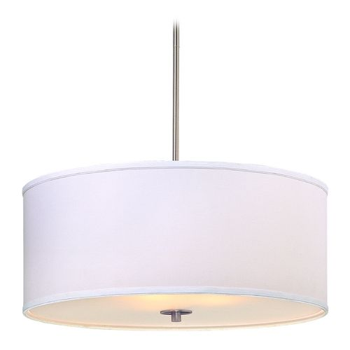 Design Classics Lighting Large Modern Drum Pendant Light with White Shade | DCL 6528-09 SH7517 KIT | Destination Lighting