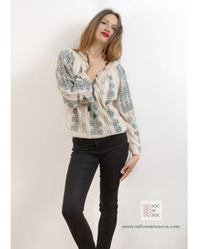 100% handmade embroidery - bohemian top - Romanian blouse - embroidered blouses
