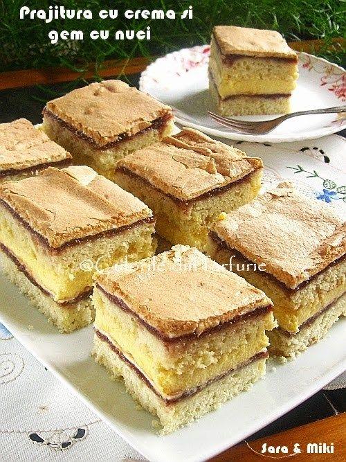 Prajitura cu crema si gem cu nuci este un desert usor, din ingredinte care de regula le avem in casa. Cui nu-i plac prajiturile cu gem, nuca si bezea! Am vrut sa fac altceva, dar a iesit cee…