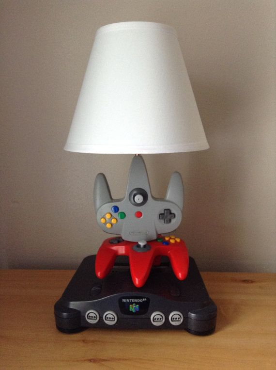 Nintendo N64 Console and Controller Desk Lamp Light Sculpture With Lamp Shade
