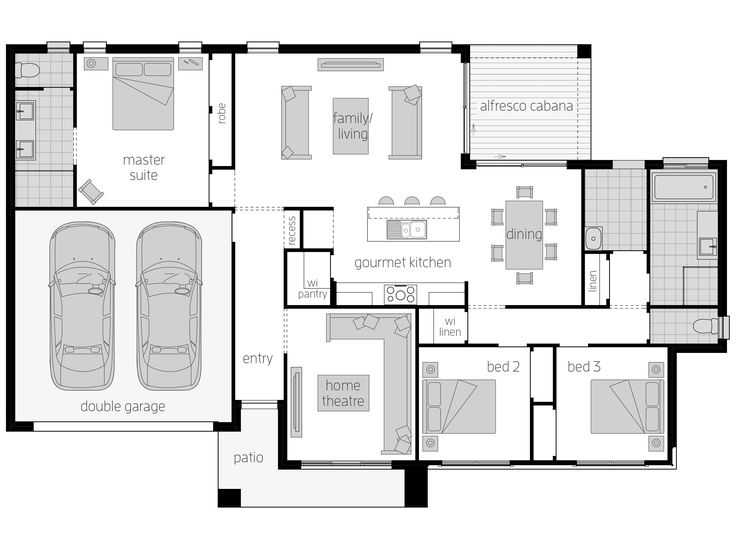 Eaton Floor Plan by McDonald Jones - The Eaton takes advantage of wide corner blocks and complements it with architectural simplicity. Upon entering this grand home, the Home Theatre sits neatly to the side with the flexibility to be transformed into an office, a study or a children's playroom to suit the occupants inside. Discover more at http://www.mcdonaldjoneshomes.com.au/home-designs/eaton/floorplans #homedesign #mcdonaldjones #mcdonaldjoneshomes