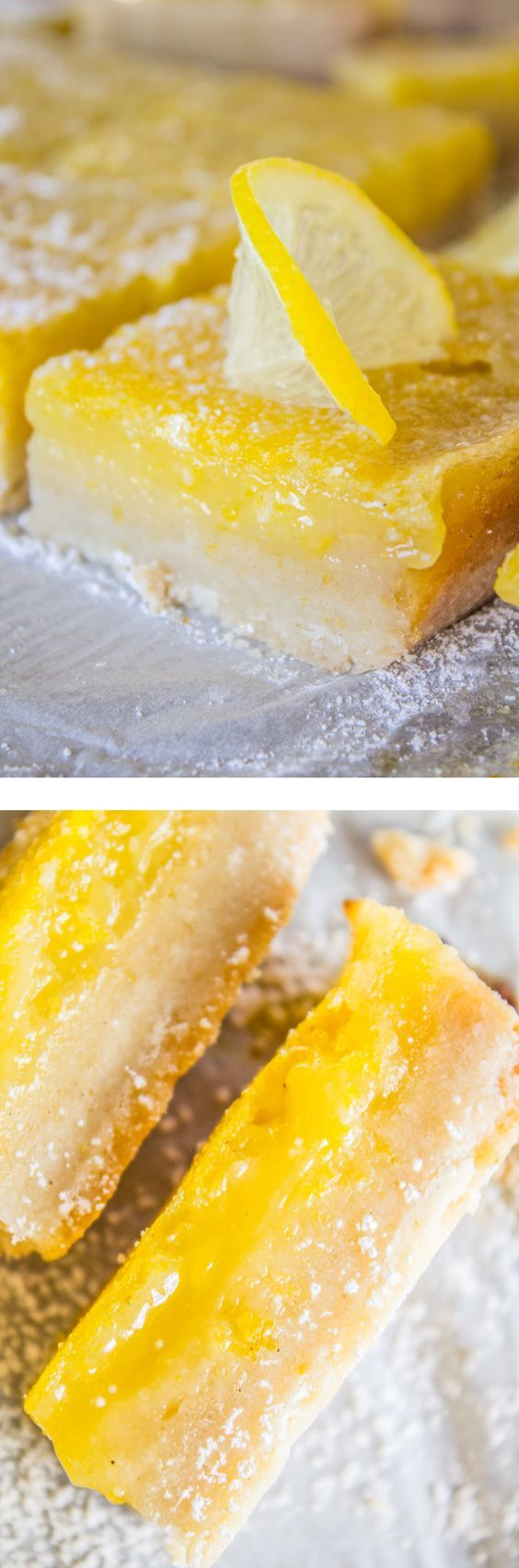 This is the BEST recipe for Lemon Bars I have EVER had! The shortbread crust is thick and tender, and the lemon custard on top is super tart and creamy. Perfect make ahead dessert. from The Food Charlatan.
