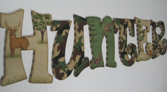Camo Baby Nursery Handpainted Wall letters  Hunting Outdoor Theme with Buck, Doe and Ducks. $16.98, via Etsy.