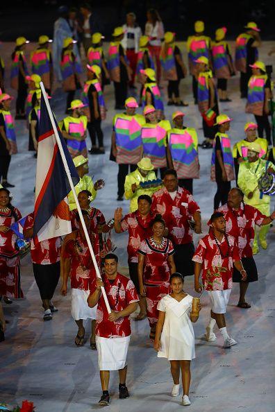 #RIO2016 Flag bearer Tanumafili Malietoa Jungblut of American Samoa leads his team during the Opening Ceremony of the Rio 2016 Olympic Games at Maracana...