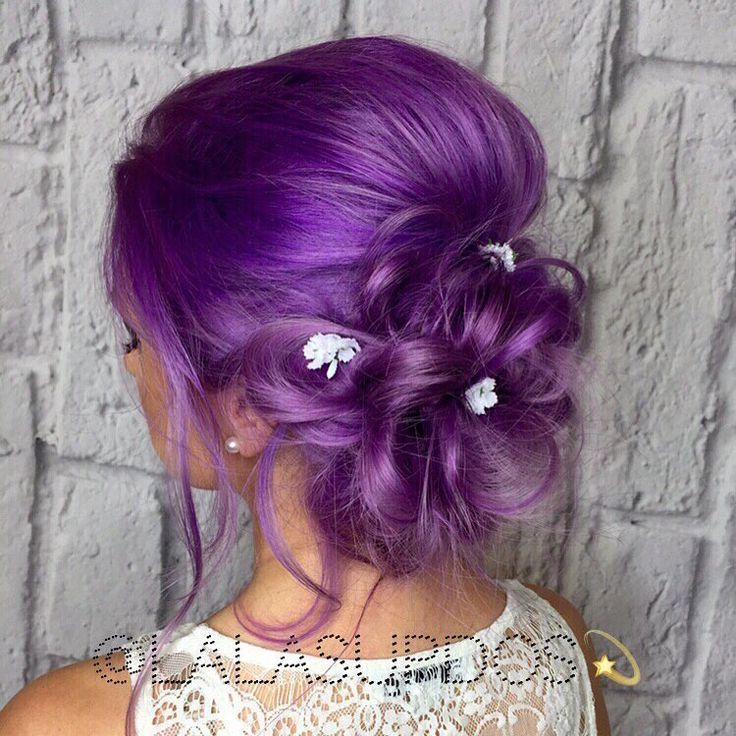 Картинки девочки с фиолетовыми волосами которые собраны в пучок