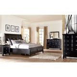 Ashley Greensburg King/Cal King/Queen Sleigh HBD BDRM Set with Storage - The rich black paint finish beautifully embracing the warm cottage design of the Greensburg bedroom collection creates a relaxing atmosphere along with the function of the ample storage within the footboard and stylish case pieces making this the perfect addition to any bedroom decor.