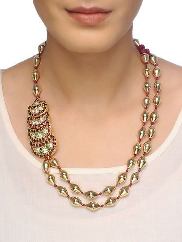 Pink-Green Dholki Beaded Gold-plated Silver Necklace