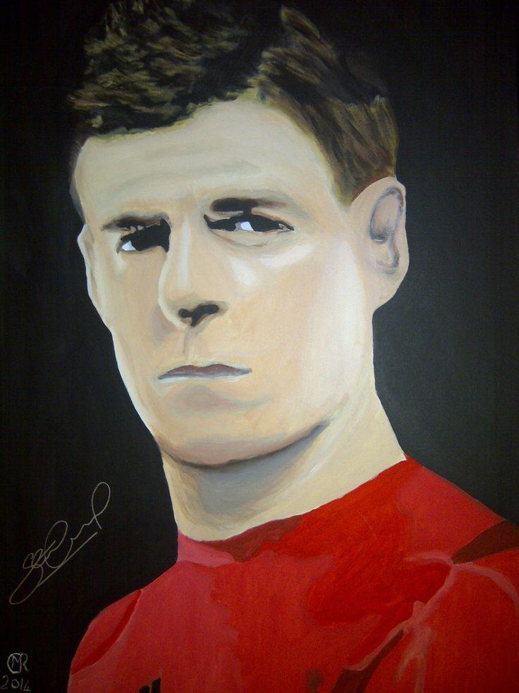 Steven Gerrard praises and signs portrait by talented blind artist Matthew Rhodes.  #BlindVeteransUK #StevenGerrard #LiverpoolFC #Gerrard #EngladCaptain