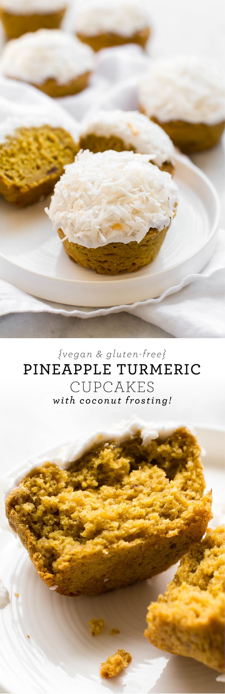 A healthy tropical treat with a superfood sunshine glow and fluffy-sweet coconut frosting! Vegan, gluten-free, oil-free
