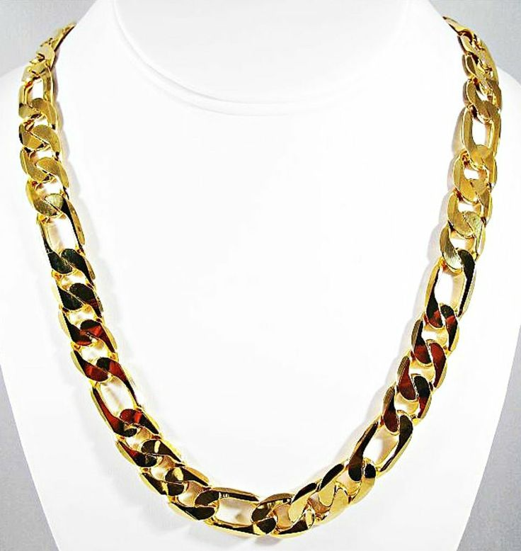 """12 mm """"MONSTER"""" FIGARO """"PVD BONDED"""" 18kt GOLD 24"""" MENS & WOMANS Chain NECKLACE #Chain"""