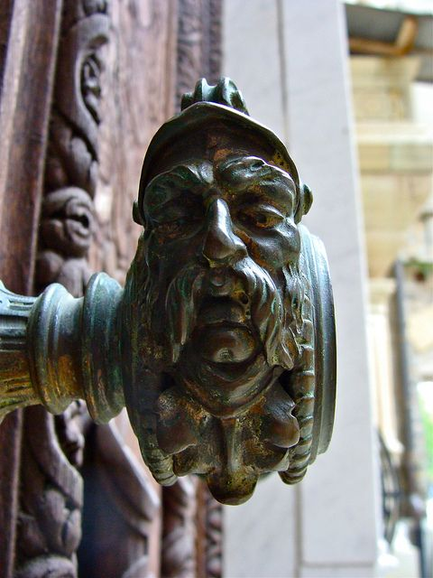 Door knob detail, at Peleș Castle, a Neo-Renaissance castle in the Carpathian Mountains, near Sinaia, in Prahova County, Romania