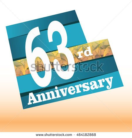 63rd anniversary logo with blue background and golden leaf texture in the middle